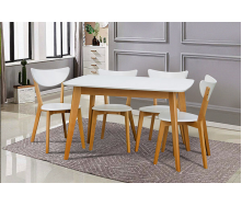 Стіл обідній Модерн Мікс Меблі 150 (+40) х90 см білий / бук