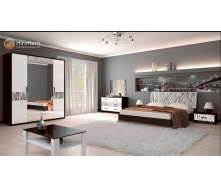 Спальня Терра 4Д білий глянець + чорний мат Миро-Марк
