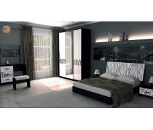 Спальня Терра 3Д білий глянець + чорний мат Миро-Марк