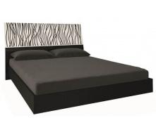 кровать Терра 160 с подъемным механизмом белый глянец + черный мат с каркасом Миро-Марк