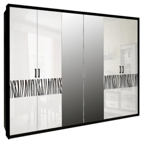 Шкаф Терра 6Д белый глянец + черный мат Миро-Марк