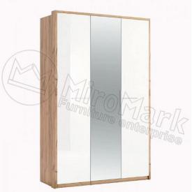 шкаф Ники 3Д дуб крафт + белый глянец Миро-Марк