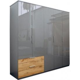 шкаф Линц 5Д 2Ш серый шифер + дуб вотан Миро-Марк