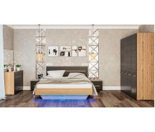 Спальня Бьянко 4Д дуб артизан + графит Мир мебели