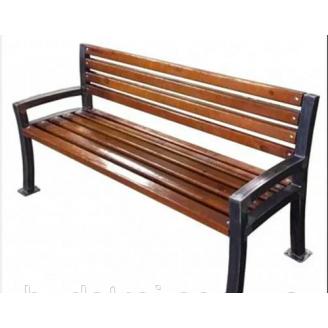 Скамейка со спинкой Шарлотта 1,8 м деревянная на металлических ножках