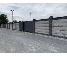 Блок декоративний рваний камінь з фаскою для паркану 390х90х190 мм темно-сірий