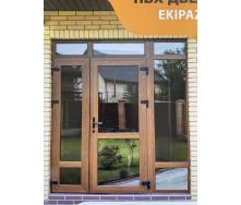Вхідні двері двостулкові дверний профіль WDS Ultra 6 1300x2050 мм дуб золотий