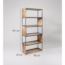 Книжкова полиця GoodsMetall з металу в стилі Лофт 1810х800х330 Магеллан