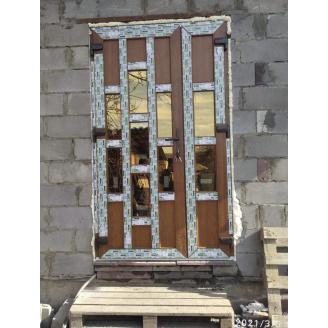 Двері вхідні двостулкові коричневі під дерево, профіль WDS 6 Seria, 1300х2100 мм