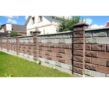 Блок парканний для стовпа рваний камінь 300х400 мм коричневий