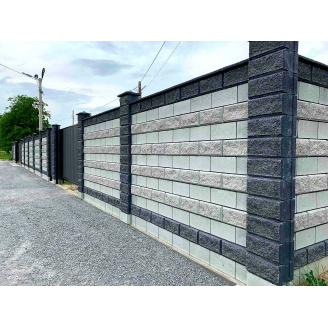 Блок декоративний рваний камінь для стовпа 300х400 мм темно-сірий