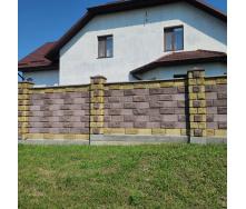 Блок декоративний рваний камінь кутовий з фаскою 390x190x90x190 мм жовтий