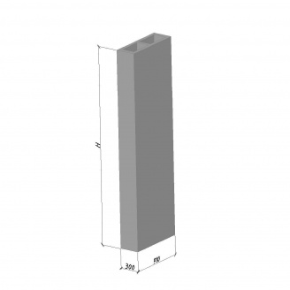 Вентиляционный блок ВБС-28 ТМ «Бетон от Ковальской» 630х300х2780 мм