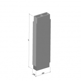 Вентиляционный блок ВБС-30-2 ТМ «Бетон от Ковальской» 630х300х2980 мм