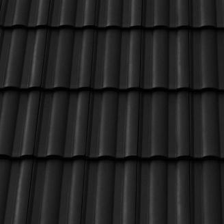 Черепица керамическая боковая левая Tondach Твист 300х500 мм черная