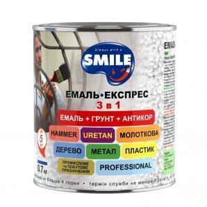 Эмаль-экспресс SMILE 3в1 антикоррозионная молотковый эффект 0,7 кг черный