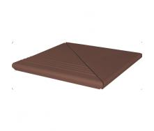 Ступень клинкерная угловая King Klinker Wenecka гладкая 330x330x14 мм коричневая