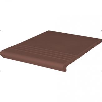 Ступень клинкерная King Klinker Wenecka рифленая 330x245x14 мм коричневая