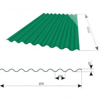 Кровельный лист Керамопласт-2000 2000x900x4,5 мм изумруд