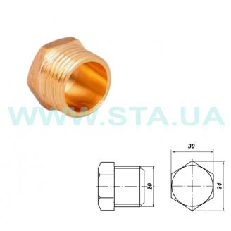 Заглушка латунная С.Т.А. наружная резьба 20 мм