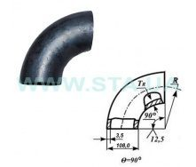 Отвод С.Т.А. крутогнутый стальной 108x3,5 мм