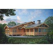 Проект дерев'яного готелю з мансардою 375,5 м2