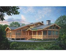Проект деревянного отеля с мансардой 375,5 м2