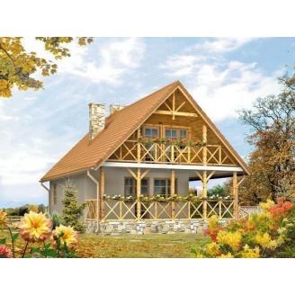 Проект каркасного дома с мансардой 89,6 м2