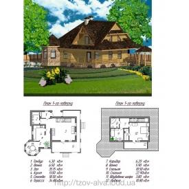 Дерев'яний житловий будинок з мансардою