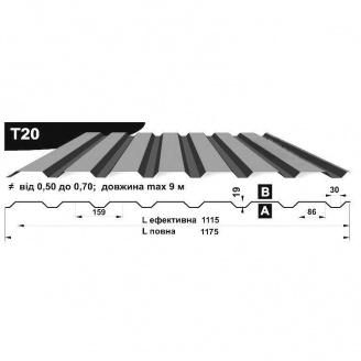 Профнастил стеновой Pruszynski T20 оцинкованный 0,7*1175*9000 мм Польша