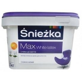 Матовая латексная краска Sniezka Max White latex 7 кг снежно-белая