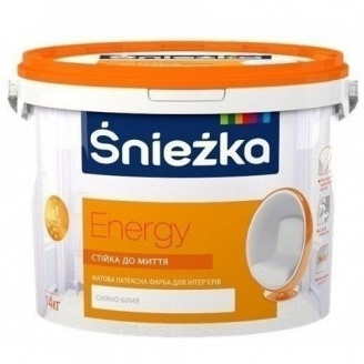 Матовая латексная краска Sniezka Energy 14 кг снежно-белая