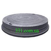 Люк магистральный канализационный полимерпесчаный (Д400) 40 т черный (14.32)