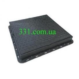 Люк пластмасовий квадратний 680х680х80 мм з замком чорний (02977)