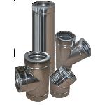 Дымоход двустенный из нержавеющей стали в оцинкованном кожухе 0,8х160/220 мм