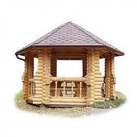 Строительство деревянной беседки из оцилиндрованного бревна