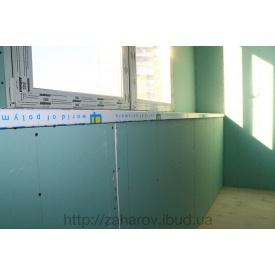 Отделка балкона гипсокартоном под покраску и поклейку обоев