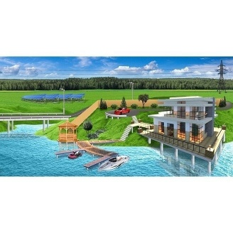 Вкручивание винтовых свай при строительстве домов на воде