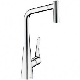 Смеситель для кухни Hansgrohe Metris однорычажный с выдвижным душем 1/2 дюйма (14820000)