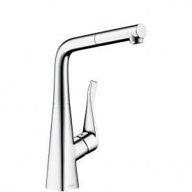Смеситель для кухни Hansgrohe Metris однорычажный с выдвижным душем 1/2 дюйма (14821000)