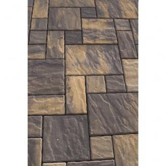 Тротуарна плитка Золотий Мандарин Пассіон на білому цементі 60 мм (RAL8025/блідно-коричневий)