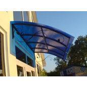 Козырек входной из поликарбоната 1х2 м синий