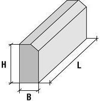 Бортовий камінь БР 100.30.15 1000x150x300 мм