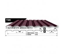 Профнастил стеновой Pruszynski T20 мат полиэстер 0,5*1175*9000 мм Польша (RAL8019/серо-коричневый)