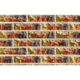 Облицовочный кирпич Фагот мраморный 60 радужный трехцветный 250х60х65 мм (желто-красно-коричневый)