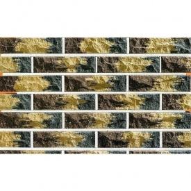 Облицовочный кирпич Фагот мраморный 60 радужный трехцветный 250х60х65 мм (коричнево-желто-серый)