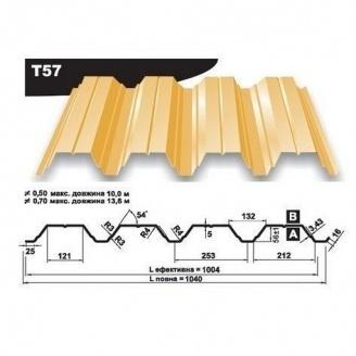 Профнастил несучий Pruszynski Т57 полиэстер 0,7*1040*13600 мм Польша (RAL1002/песочно-желтый)
