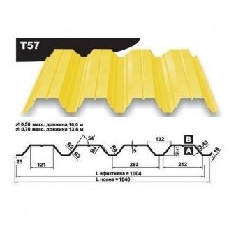 Профнастил несучий Pruszynski Т57 полиэстер 0,7*1040*13600 мм Польша (RAL1003/сигнально-желтый )
