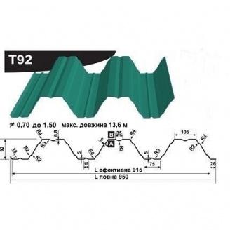 Профнастил несучий Pruszynski Т92 полиэстер 0,7*950*13600 мм Польша (RAL6002/зеленый лист)