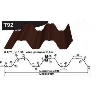 Профнастил несучий Pruszynski Т92 полиэстер 0,7*950*13600 мм Польша (RAL8017/шоколадный)